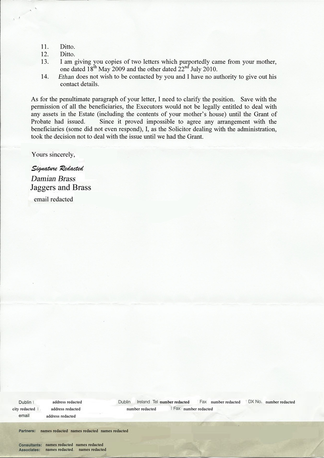 Letter from Damian Brass, July 2011