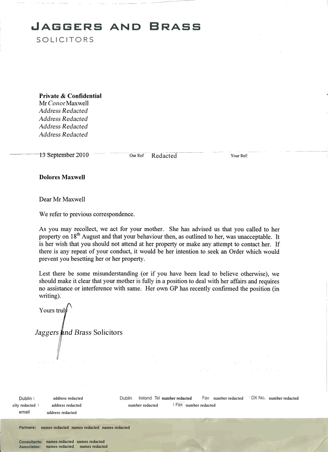 Letter sent to Conor Maxwell, 13 September, 2010